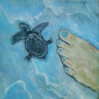 Hatchling Finds Its Way. Baby Sea Turtle. Beach. Painting by Randy Zucker