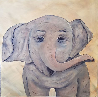 Happy Little Giant. Elephant. Baby elephant. Painting by Randy Zucker.