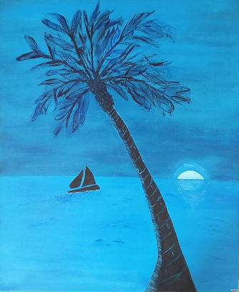 Waikiki at Sunset. Beach Palm Tree. Sailboat. Sunset. Painting by Randy Zucker