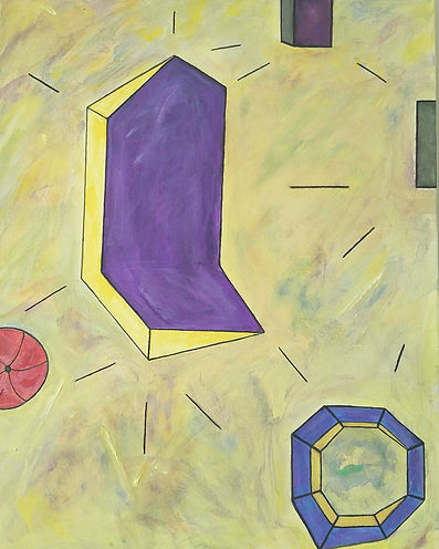 Imperfect Geometer, Abstract Art, Abstract, Painting by Randy Zucker, Geometry, shapes, Lines, Planes,