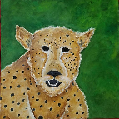 Freckles the Friendly Cheetah. African Safari Art. Painting by Randy Zucker.