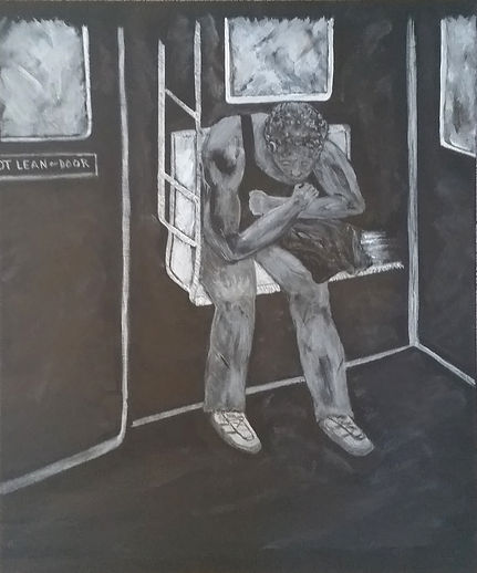 Subway #3.Third in the Seen (Scene) on The Subway Series of paintings by Randy Zucker.