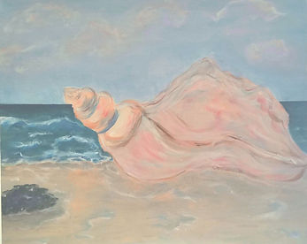 Head Honcho Concho. Conch shell. Beach. Painting by Randy Zucker.