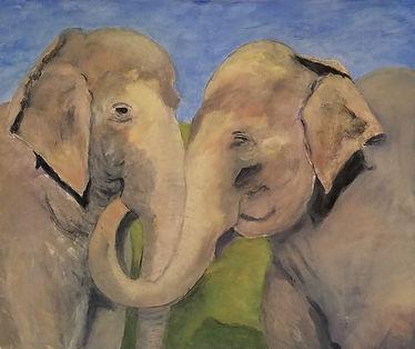 Elephant Love. Paintin by Randy Zucker.
