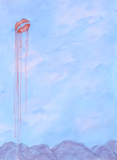 'Scuse Me While I Kiss The Sky, Classic Rock Paintings, Jimi Hendrix, painting, acrylic painting, painting by Randy Zucker, Classic Roick Series, Kiss The Sky, lips, Kiss, sky over mountains,