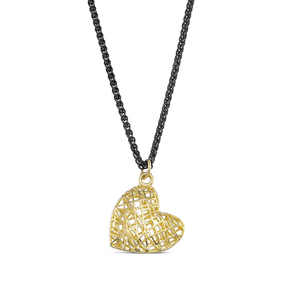 Zee & Zed Pendant Necklace for Women | Modern Filigree 10k Gold Heart Pendant wi