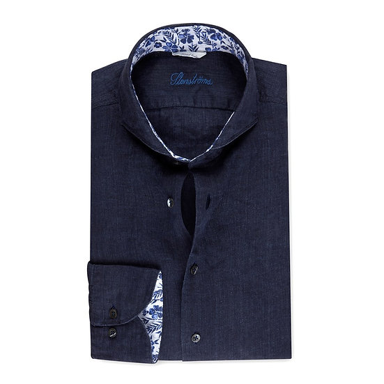 Stenstroms Navy Linen Shirt with Contrast