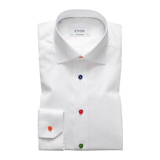 Eton White Twill Multi Colour Buttons