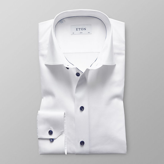 Eton White Twill with Navy Details