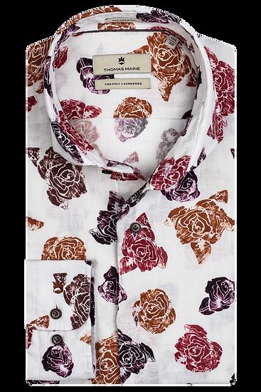 Rose Print Linen Shirt