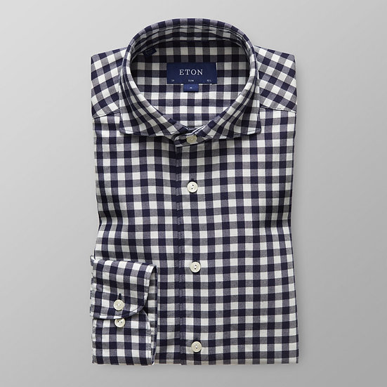 Eton Supersoft Navy Gingham Flannel