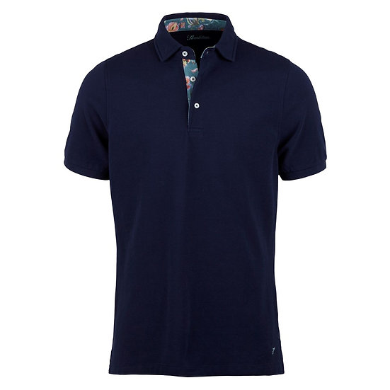 Navy Polo with Floral Contrast