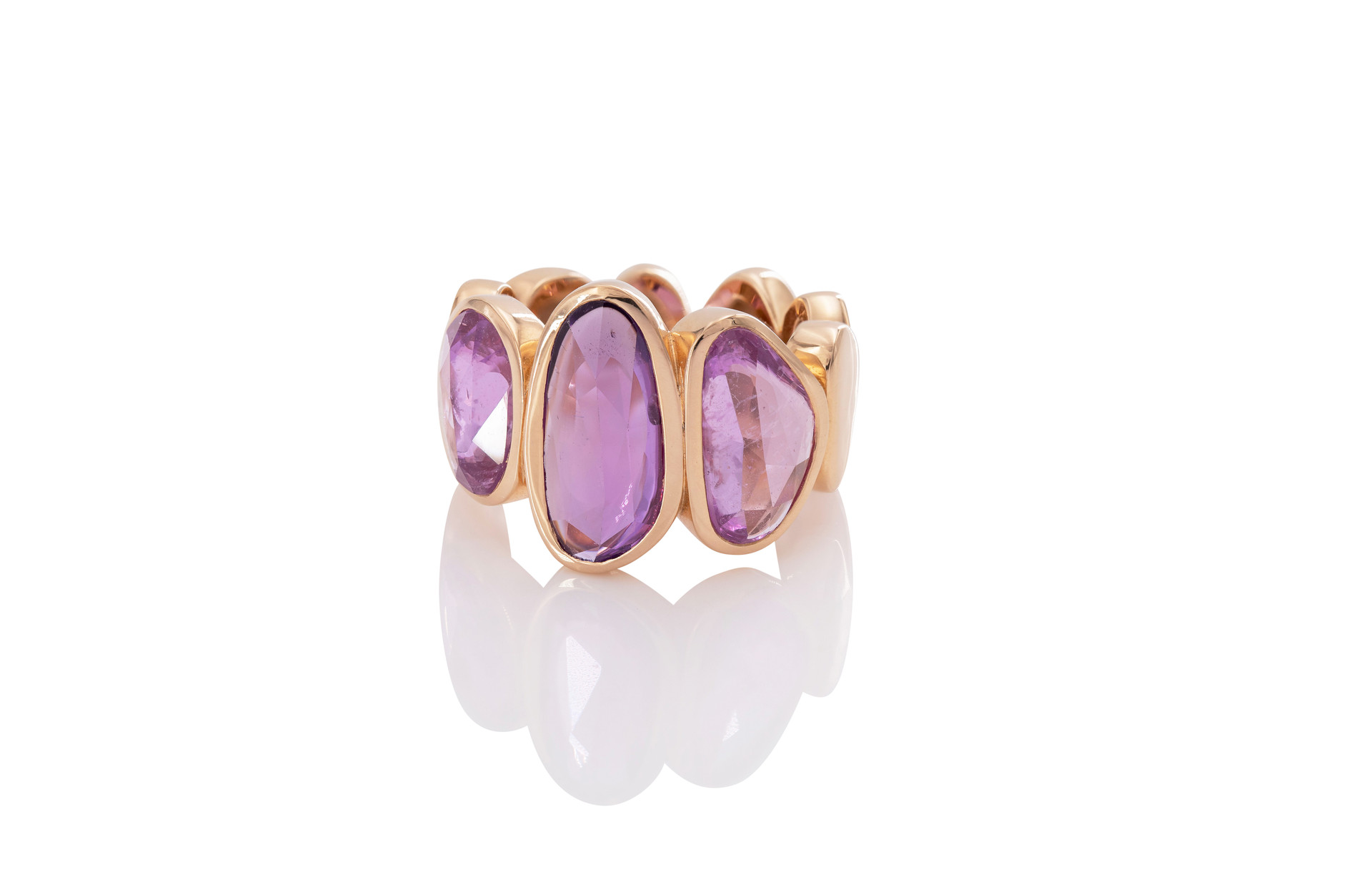 750 ROSÉGOLD SAPHIRRING 3 saphire 8,74ct purple