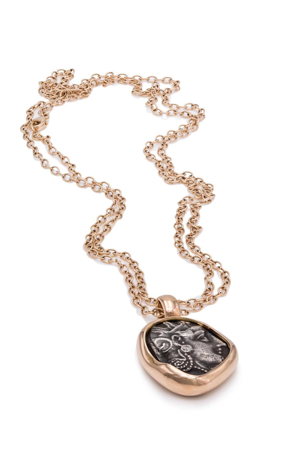 750 ROSÉGOLD ANHÄNGER | ATHENA  antike griechische Münze ca. 400 v. Chr.  Athena, auch Athene, ist die antike Göttin der Weißheit, der Handwerkskunst, sowie der Kriegsführung. In späteren Zeiten wurde sie mit der römischen Göttin Minerva gleichgestellt.