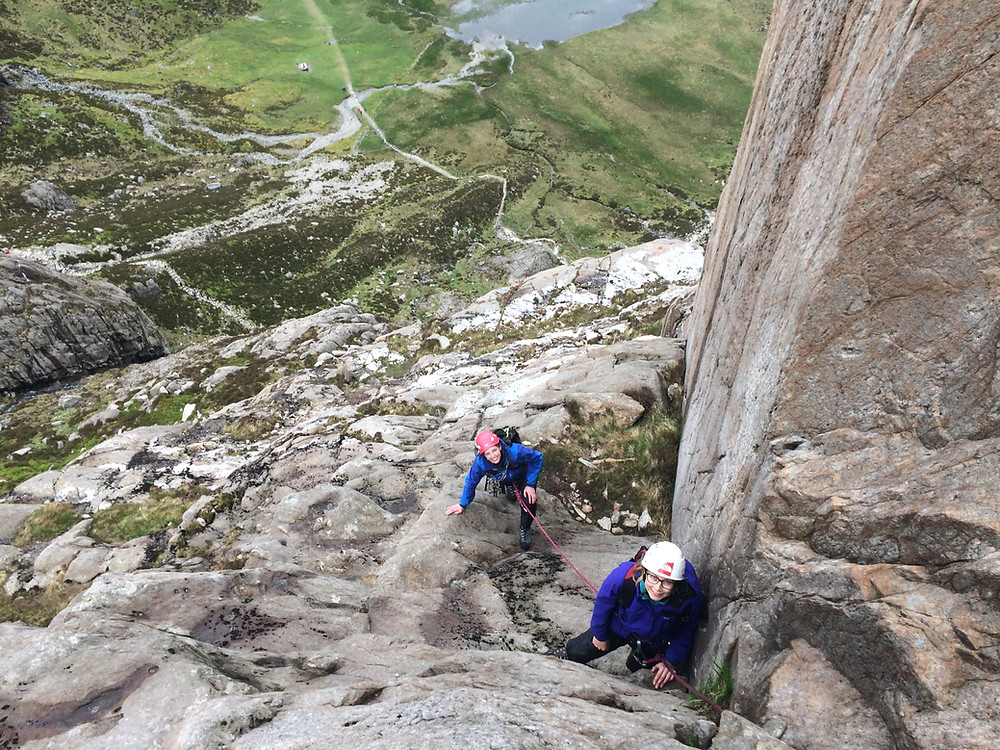 Climbers above the Ogwen basin
