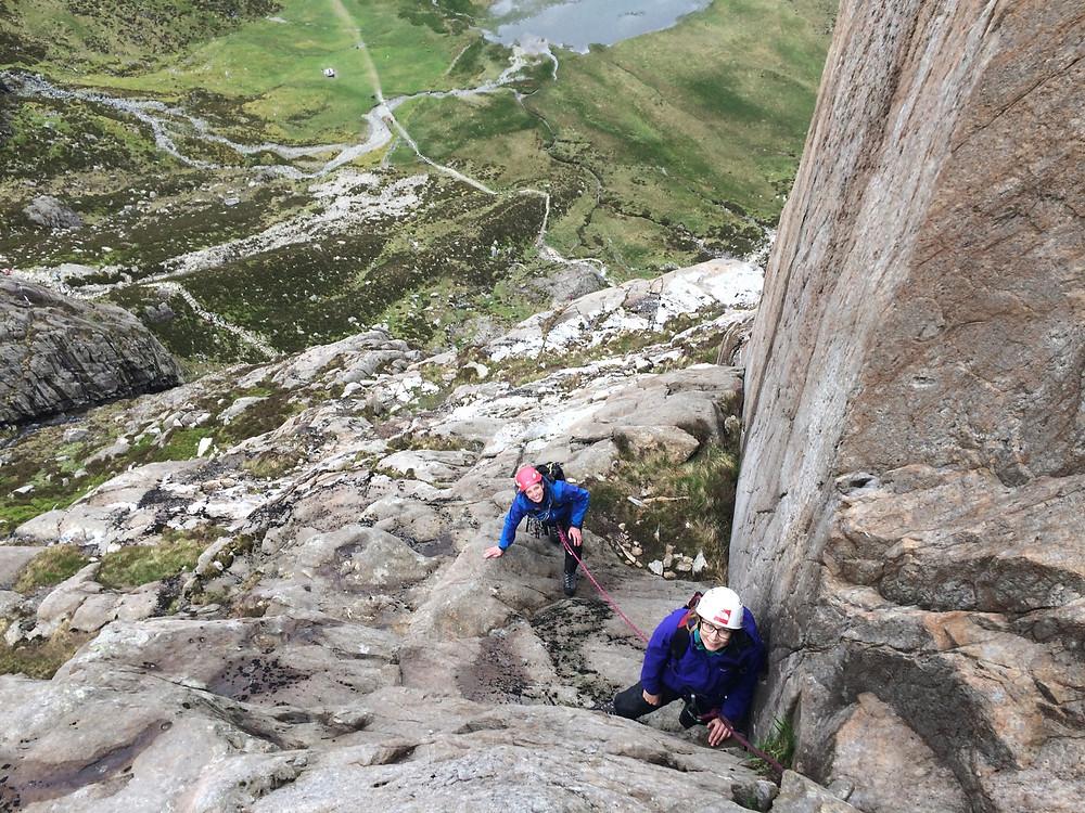 Climbers above the Ogwen basin