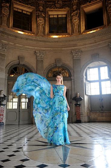 BLUE LONG ORGANZA DRESS