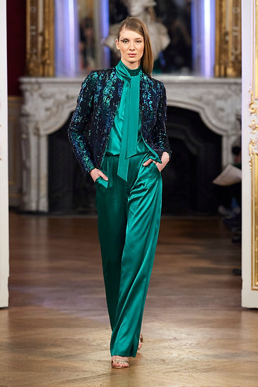 GREEN SATIN OVERALL WITH JACKET