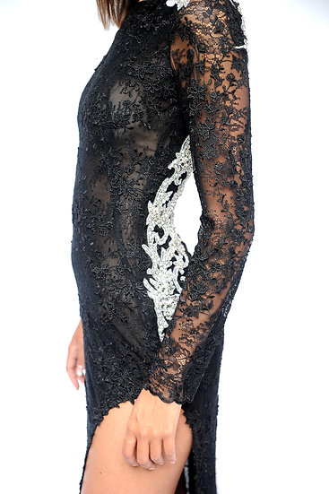 BLACK LACE DRESS WITH CRYSTAL BUTTERFLY APPLICATION