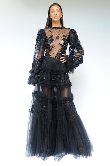 SPECTACULAR BLACK EMBROIDERED TULLE DRESS