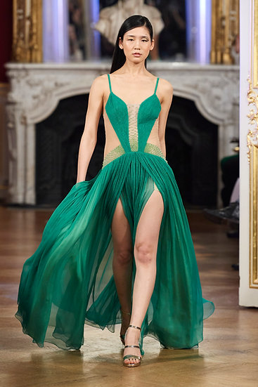 GREEN DRAPPED SILK CHIFFON DRESS WITH STONES