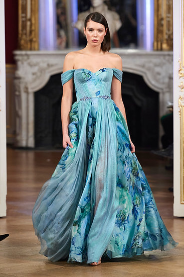 BLUE ORGANZA DRESS