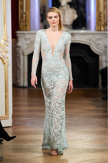 LIGHT GREEN DRESS FRENCH LACE