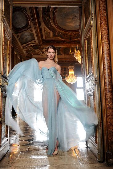 BLUE DRESS WITH SWAROVSKI STONES
