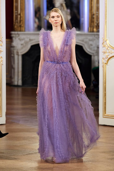 VIOLET TULLE DRESS WITH STONES