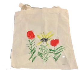 Tote bag with drawing on it