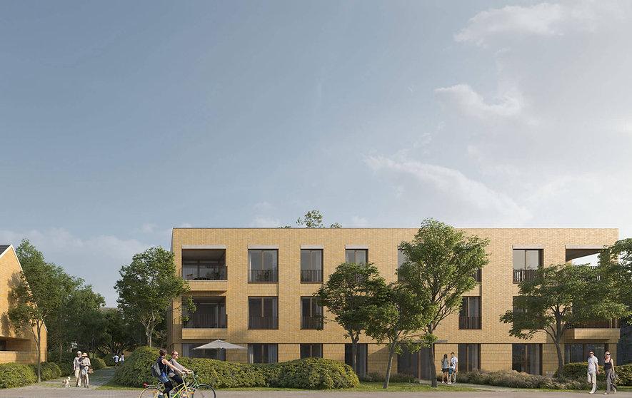 Gevel in gele baksteen, bruine ramen, beton linteel, gevelsten staand, architect project ontwikkeling