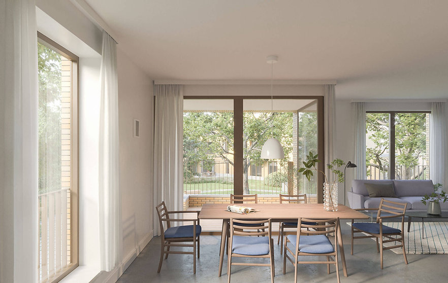 interieur appartement, claar render, zicht naar het park
