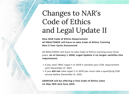 Changes to NAR's Code of Ethics and Legal Update II