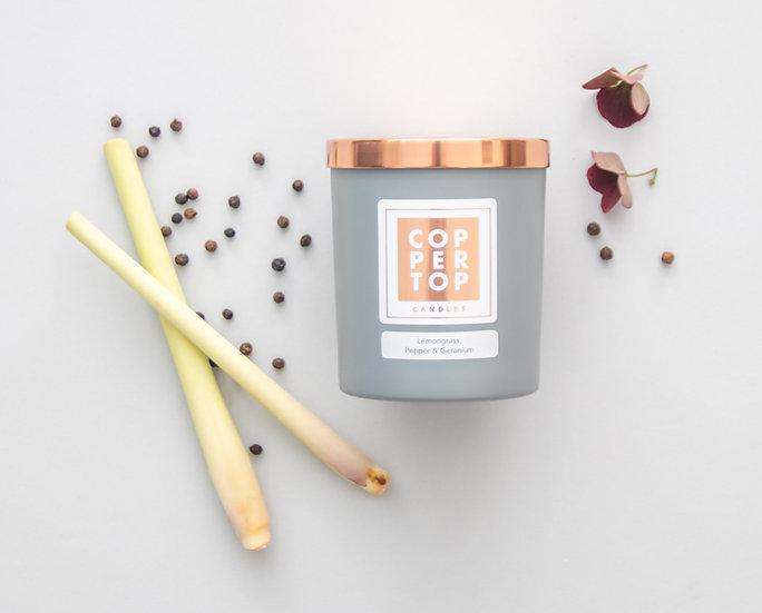 Lemongrass, Pepper & Geranium Aromatherapy Soy Wax Candle