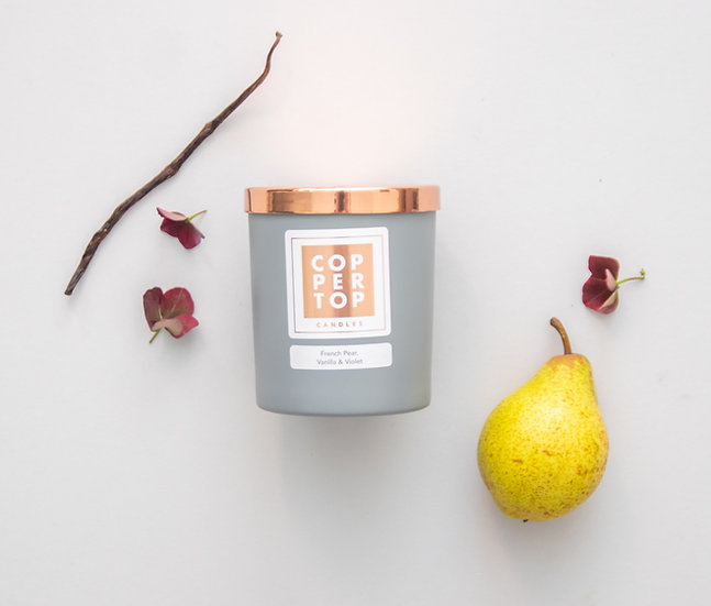 French Pear, Vanilla & Violet Aromatherapy Soy Wax Candle