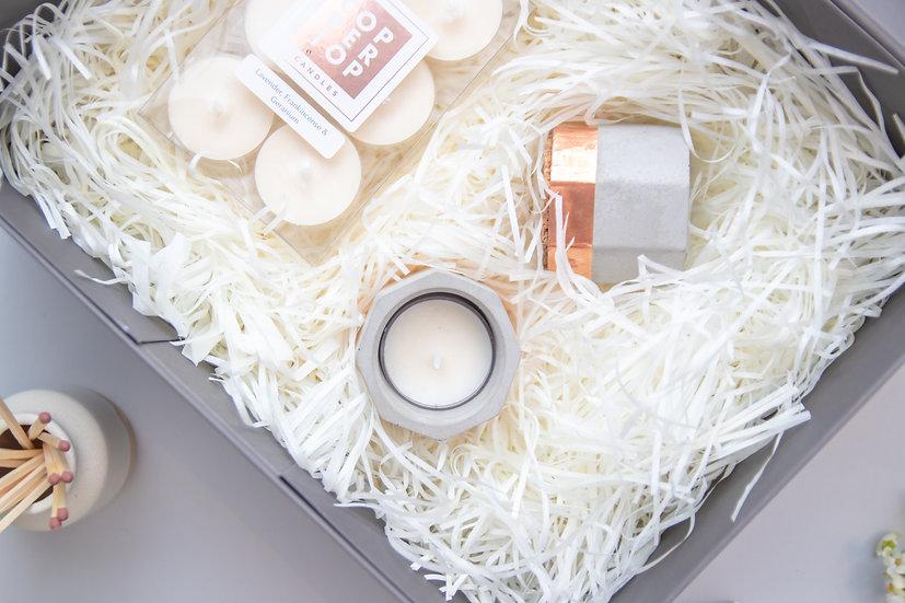 Copper & Jesmonite Tealight & Holder Gift Set