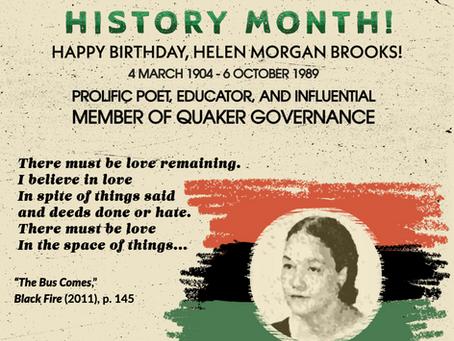 Women's History Month & Helen Morgan Brooks!