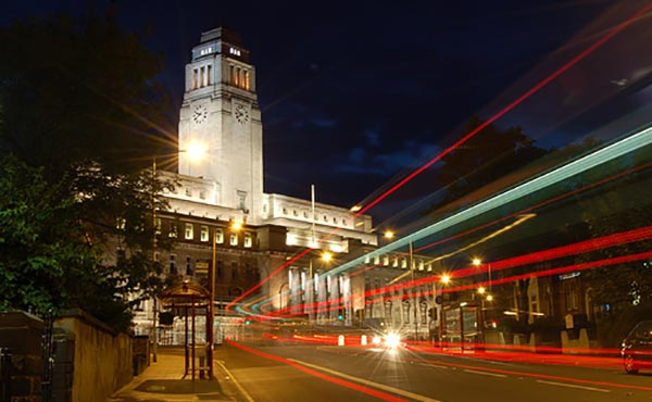 University of Leeds by night