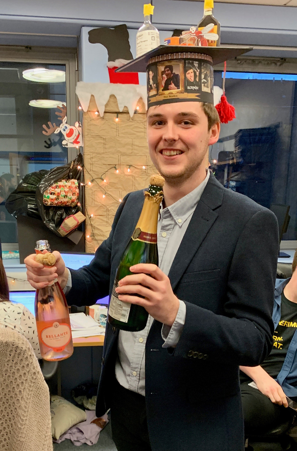 Here is Steven with his traditional academic hat. As tradition dictates it comes festooned with an eclectic mix of steven-related items and memories.
