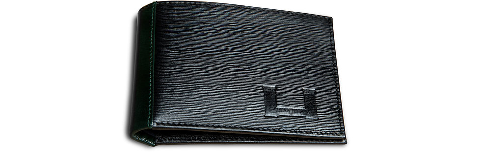 Billetera Corrugado Negro/Verde