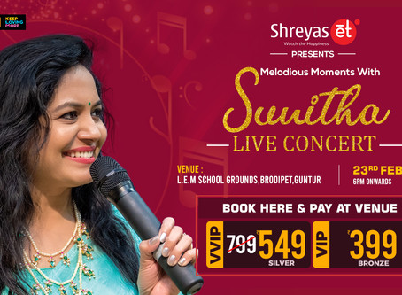 Book Sunitha Live Concert Passes Here | ShreyasET | Shreyas Media