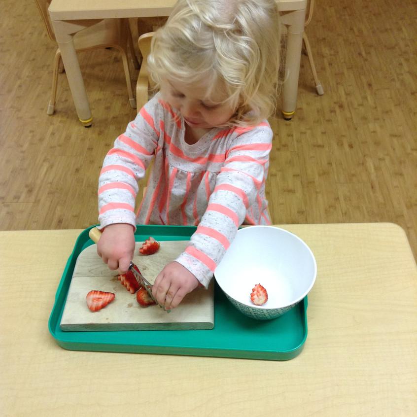 Cutting a Strawberry