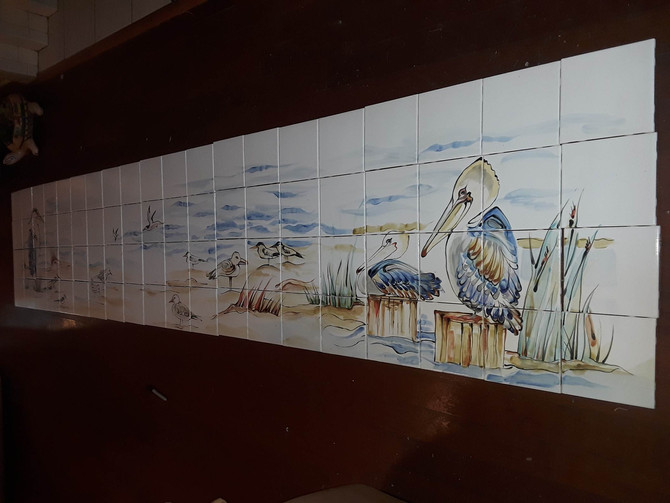 """A new 6""""x 6"""" tile shower surround mural, 11 feet long by 2 feet tall when finished."""
