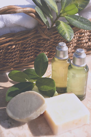 Soap bars and travel sized hotel toiletries