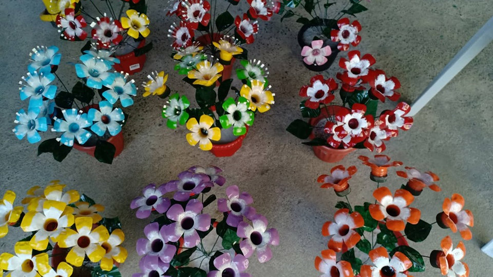 Flowers  made of plastic bottles