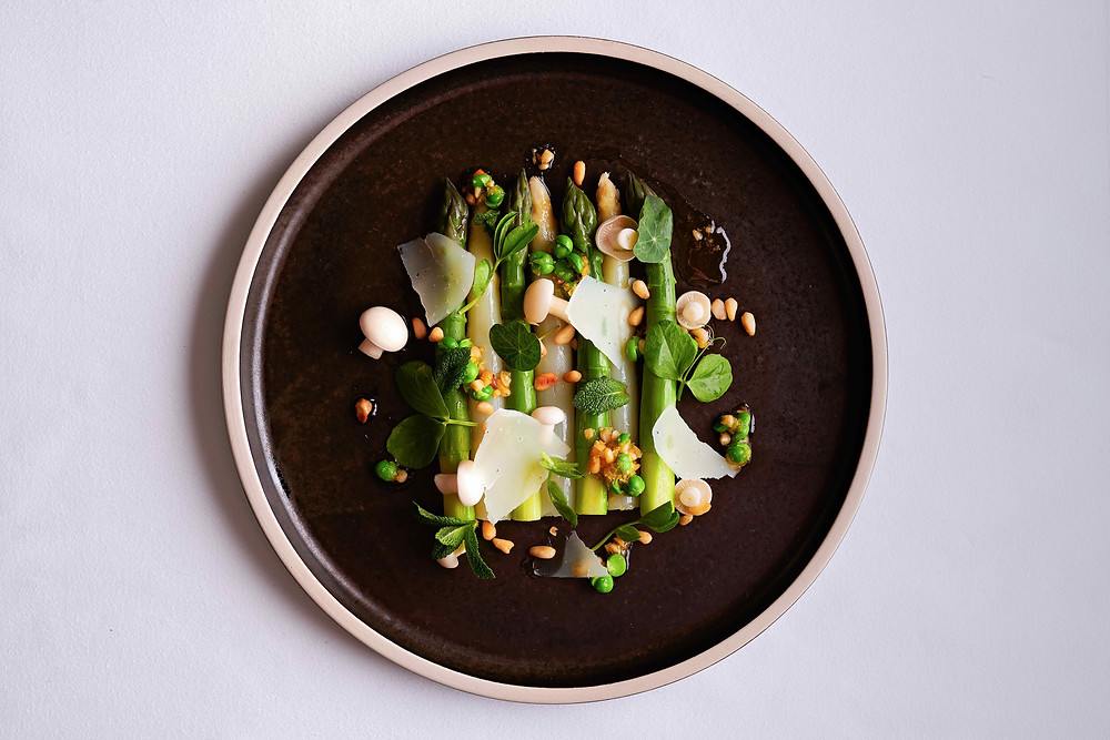 Chilled Wye Valley Asparagus, Pea, Mint, Berkswell, Pine