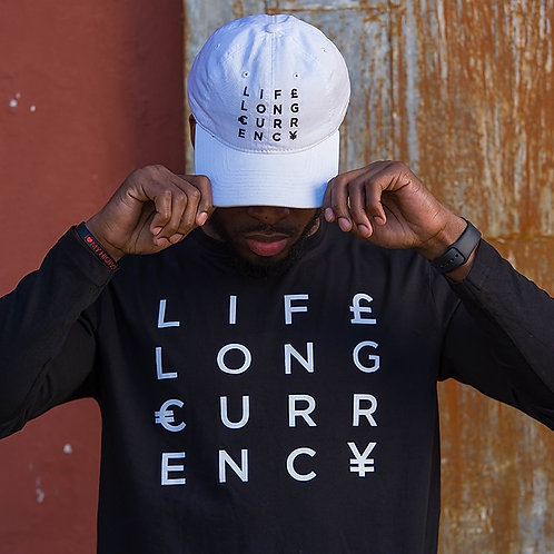 Unisex Life Long Currency Long Sleeve -Black/White