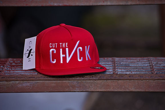 Cut The Check Snapback Flat Bill  Red/White