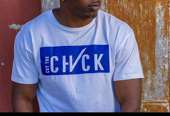 Cut the Check Signature Tee - White/Blue