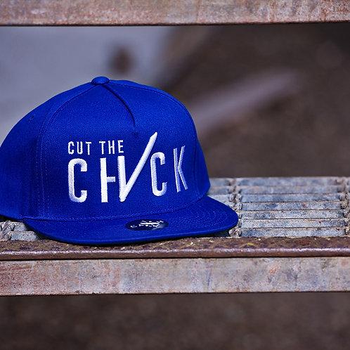 Cut The Check Snapback Flat Bill  - Blue/White